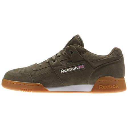 half off 6d2bb 543b3 Mens Reebok Workout Plus EG Army Olive Green White Gum Brown CN1053 -  Walmart.com