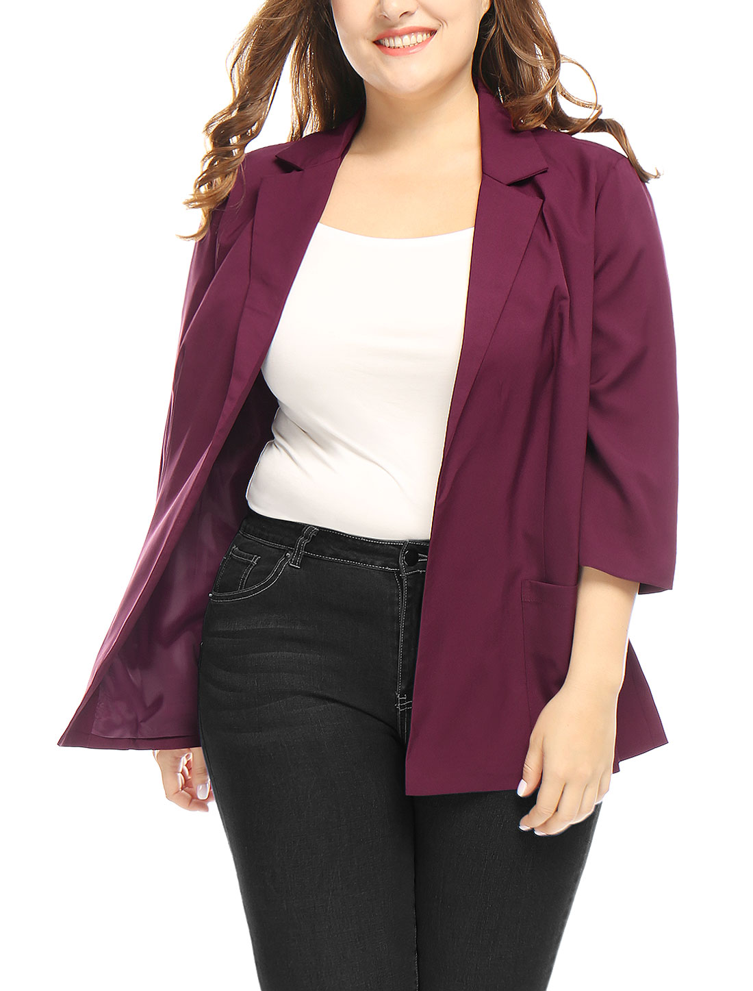 Unique Bargains Women's Plus Size 3/4 Sleeves Open Front Collared Blazer Red (Size 2X)