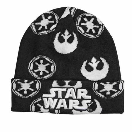 Star Wars Mens Cuffed Black White Star Wars Beanie Stocking Cap