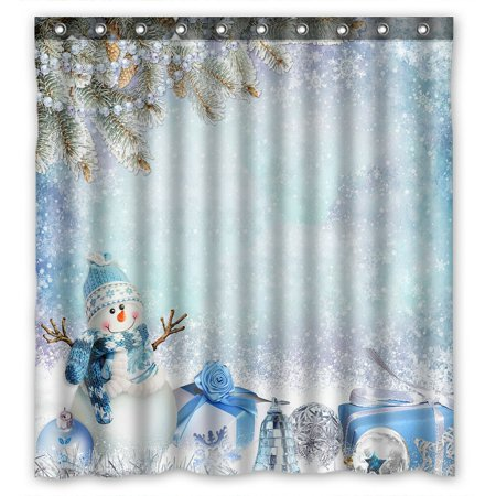 PHFZK Happy Festival Shower Curtain, Merry Christmas Cute Winter Snowman White Snow Polyester Fabric Bathroom Shower Curtain 66x72 -