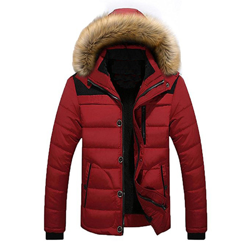 Frieed Mens Warm Winter Hooded Long Thicken Quilted Parka Faux Fur Down Puffer Jacket