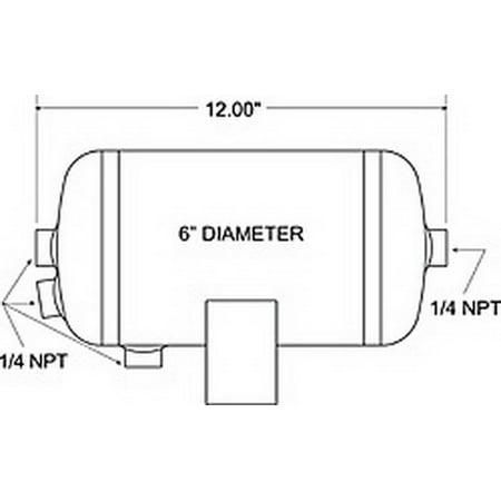 Firestone Air Tank 1 Gallon 6in. x 12in. L (4) 1/4in. NPT Ports 150 PSI Max - Black (WR17609244)