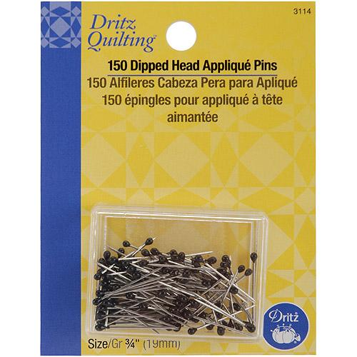 Dritz 73650 Dritz Quilting Black Dipped Head Applique Pins. 75 inch 150-Pkg