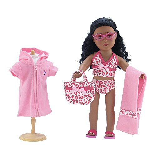 18 Inch Doll Clothes | 6-Piece Pink Leopard Print Tankini Swimsuit Set, Includes Matching Beach Bag/Tote, Soft Hooded Cover-up, Towel, Beach Sandals and Jeweled Sunglasses | Fits American Girl Dolls