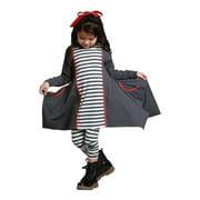 KidCuteTure Girls Charcoal Striped Sabrina Trendy Fall Outfit Set 7-12