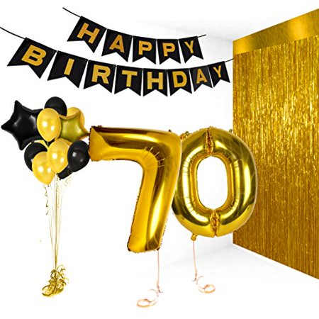 Birthday Decorations Happy Bday Banner Party Kit Pack B-day Celebration Supplies with Gold and Black Stars Balloons + Extra Large Golden Fringe Curtain for Men or Women (70th)