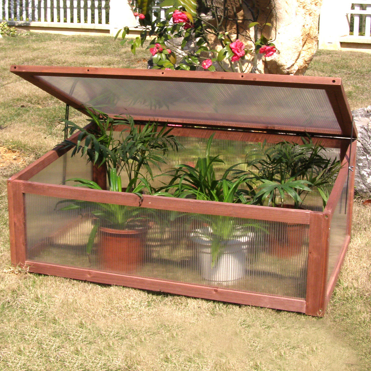 Costway Garden Portable Wooden Green House Cold Frame Raised Plants Bed Protection