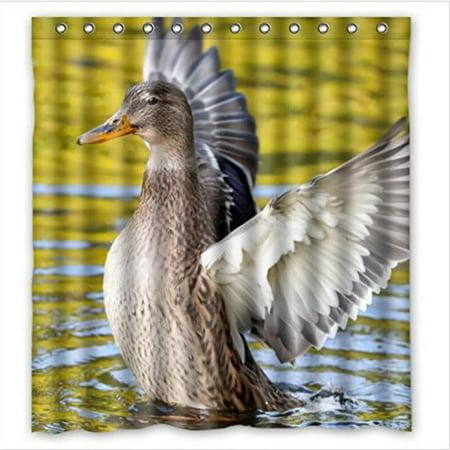 Hot Sale Mallard Duck Lift The Wings Feathers PEVA Shower Curtain