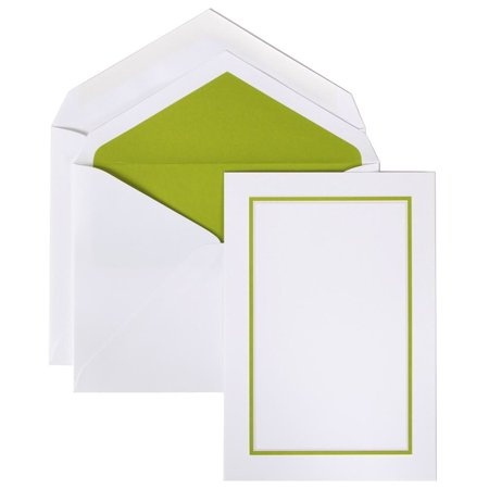 Wedding Invitation Sets (JAM Paper Wedding Invitation Set, Large, 5 1/2 x 7 3/4, Bold Border Set, Kiwi Green Card with Kiwi Green Lined Envelope,)