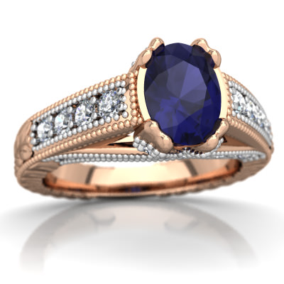 Sapphire Antique Style Ring in 14K Rose Gold by