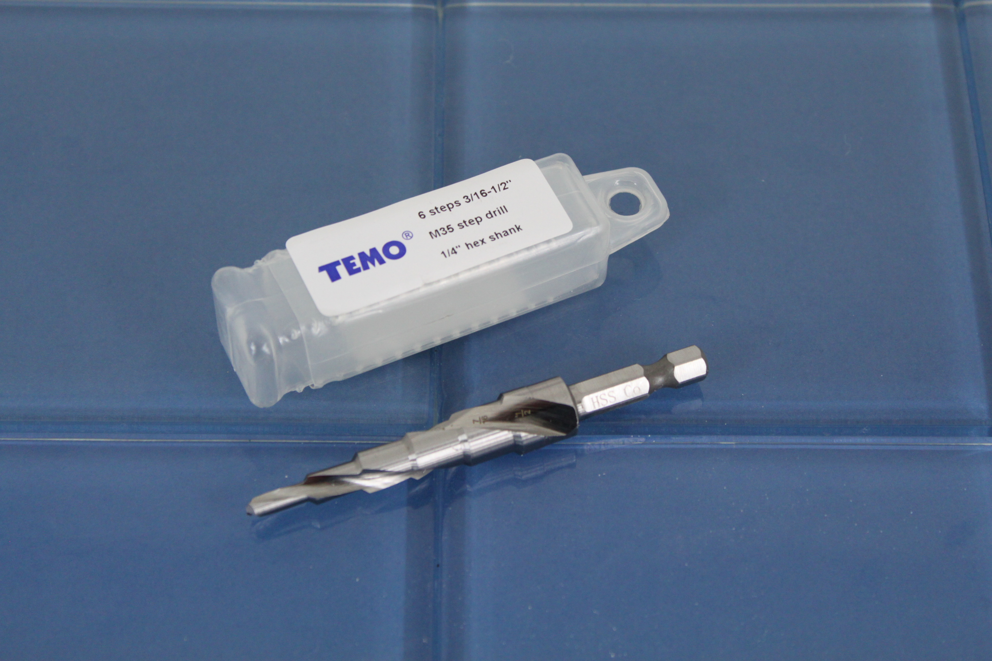1//4 inch Hex Shank TEMO M35 Cobalt Step Drill Double Flute 4.8mm 6.4mm to 1//2 inch 6 Size from 3//16 inch 12.7mm