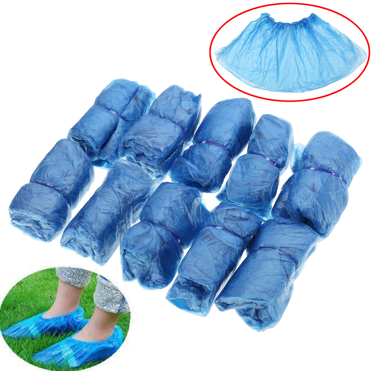 100Pcs Disposable Plastic Shoe Covers Overshoes Waterproof Boot Covers EA