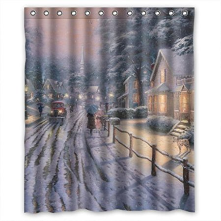 HelloDecor Snow Nitht Town Merry Christmas Shower Curtain Polyester Fabric Bathroom Decorative Size 60x72 Inches