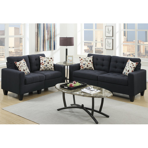 Bobkona Windsor Sofa 2 Piece Polyfabric Linen Like And