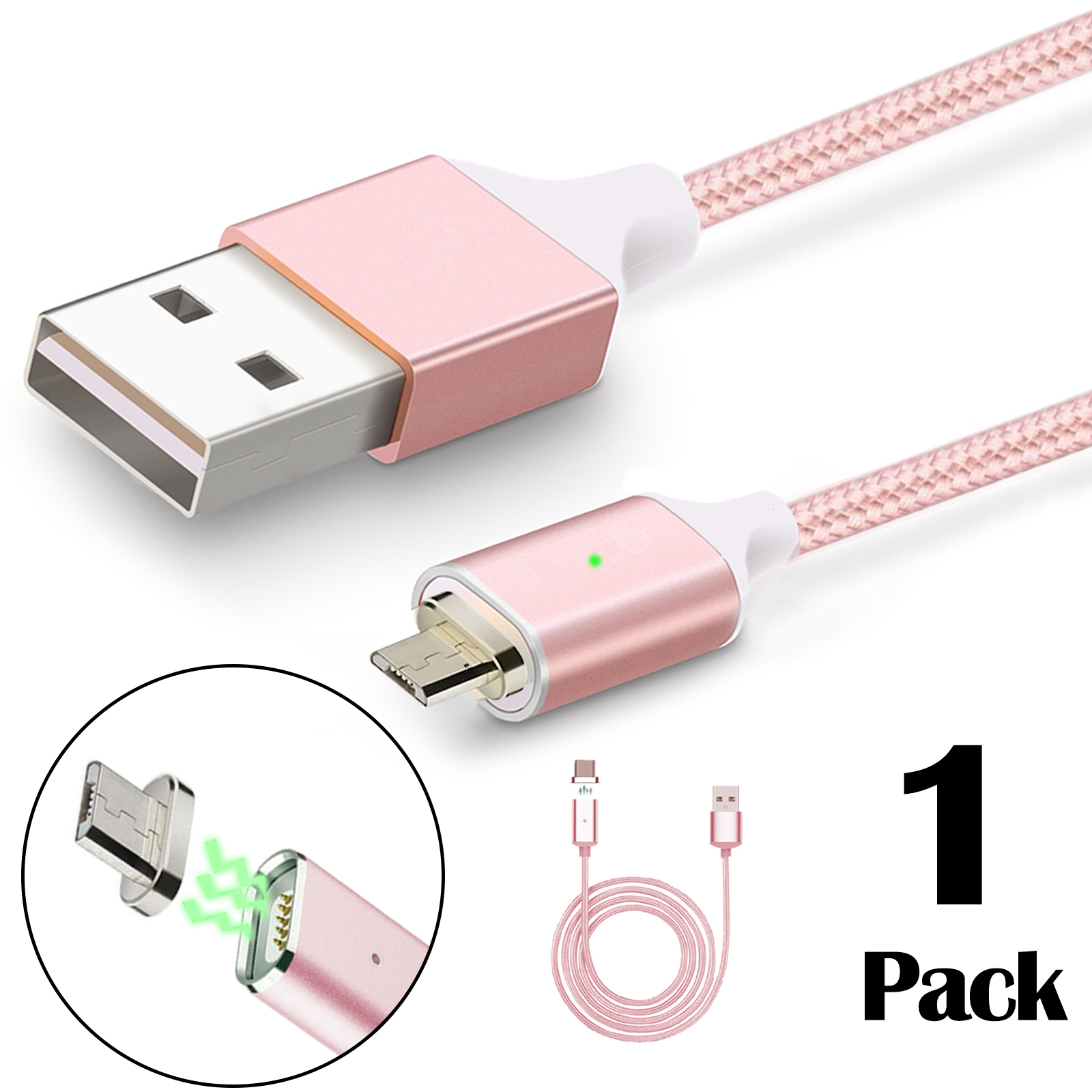 3.3ft 2.4A Braided Magnetic Micro USB Cable Universal Android Samsung Quick Charger w/ For Phone Tablet (Rose Gold)