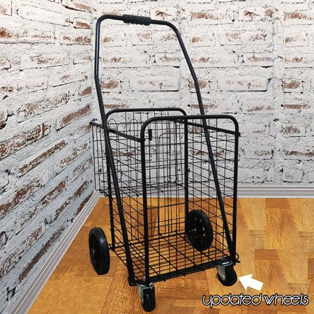 Premium Heavy Duty Metal Caster Swivel New Front Wheels Folding Shopping Grocery Laundry Cart