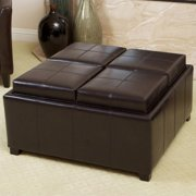 Noble House Chloe Tray Top Storage Ottoman in Espresso Brown
