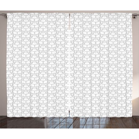 Geometric Curtains 2 Panels Set, Sport Football Ball Like Hexagonal Geoemtrical Shapes with Black Backdrop, Window Drapes for Living Room Bedroom, 108W X 63L Inches, Black and White, by Ambesonne