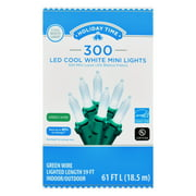 Holiday Time 300 Count White LED Mini String Christmas Lights