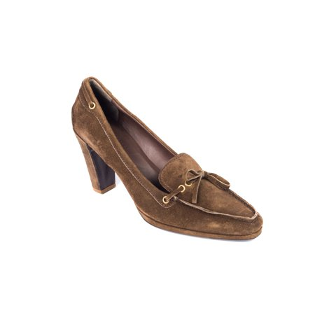 (Original Car Shoe Womens Brown Suede Toe Pointed Bow Pumps)