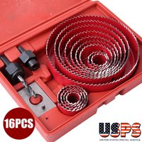 Red 19-127mm 16 Hole Saw Kit Metal Circle Cutter Round Drill Bits Wood Tool