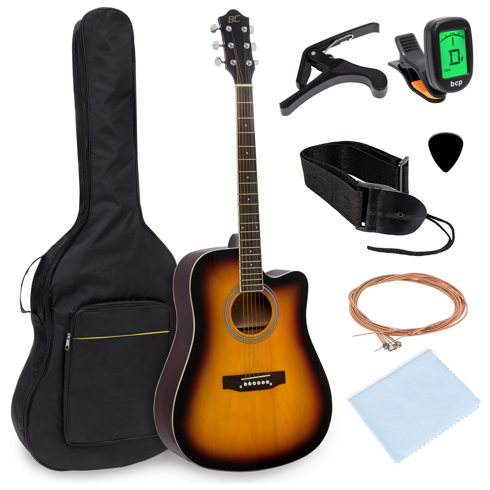 Best Choice Products 41in Full Size Beginner Acoustic Cutaway Guitar Kit Musical Instrument Bundle Set w/ Padded Case, Strap, Capo, Extra Strings, Digital Tuner, Polishing Cloth, 4 Picks - Sunburst