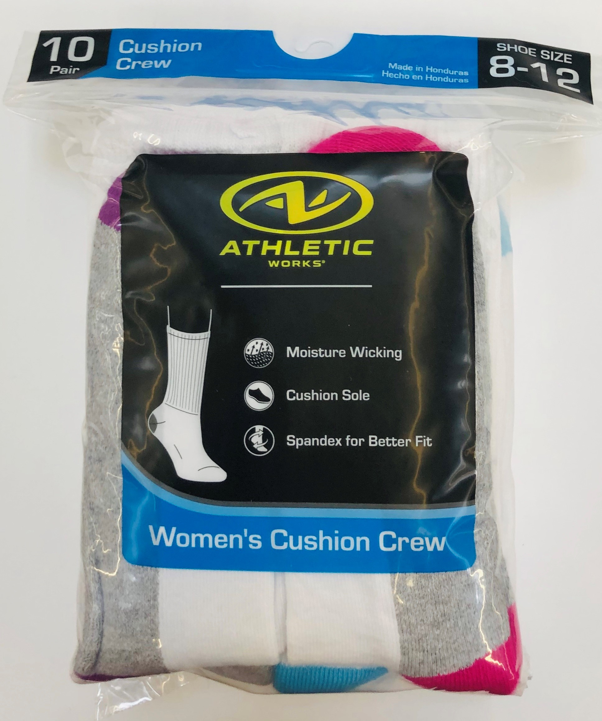 Athletic Works Women's Half Cushion Crew Socks, 10 Pairs