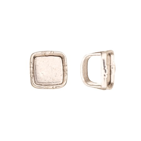 Cabochon Setting - Square Cabochons Setting Licorice Beads Fits 10x8mm Licorice Leather - Antique Silver Plated