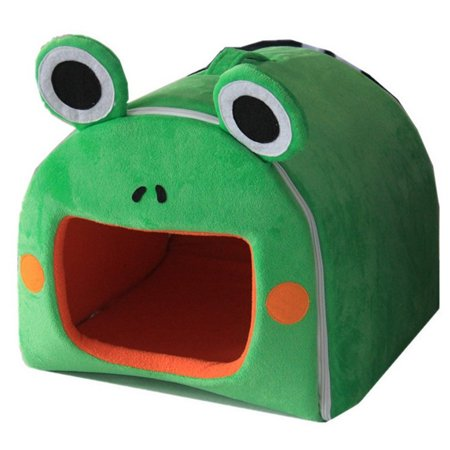 Lovely Small Pets Zip Cotton Nest Detachable House Hamster Guinea Pig Warm Bed Cote(Frog Pattern) - Green M