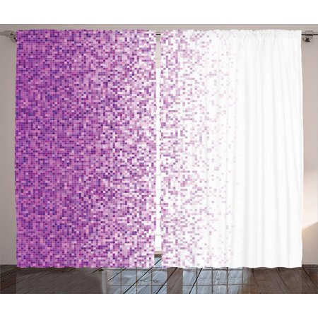 - Magenta Decor Curtains 2 Panels Set, Computer Art Style Tile Mosaic Squared Complex Pixel Party Mix Art Concept, Window Drapes for Living Room Bedroom, 108W X 84L Inches, Purple White, by Ambesonne