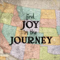 Joyful Journey Vintage Antique USA Map Inspirational Typography Tan & Blue Canvas Art by Pied Piper Creative