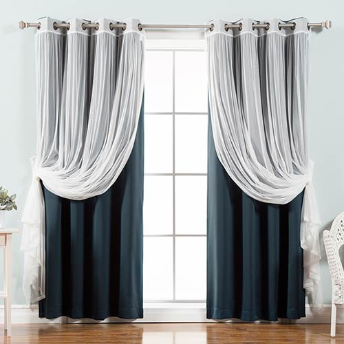 Navy 52 x 84 In. Sheer Lace and Blackout Window Treatments, Set of Four