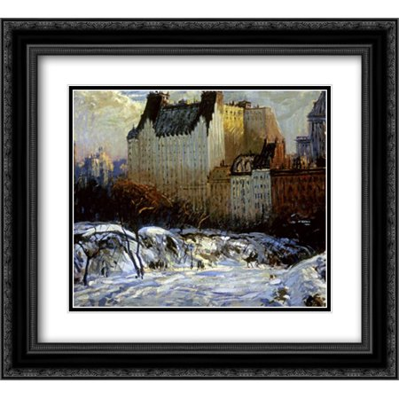 A View of the Plaza from Central Park 2x Matted 22x20 Black Ornate Framed Art Print by Goodwin, Arthur Clifton - La Fiesta Clifton Park