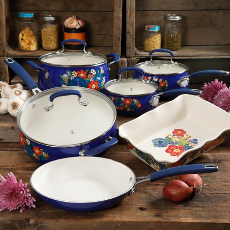 The Pioneer Woman Ceramic Pattern Cookware Set, 10 Piece