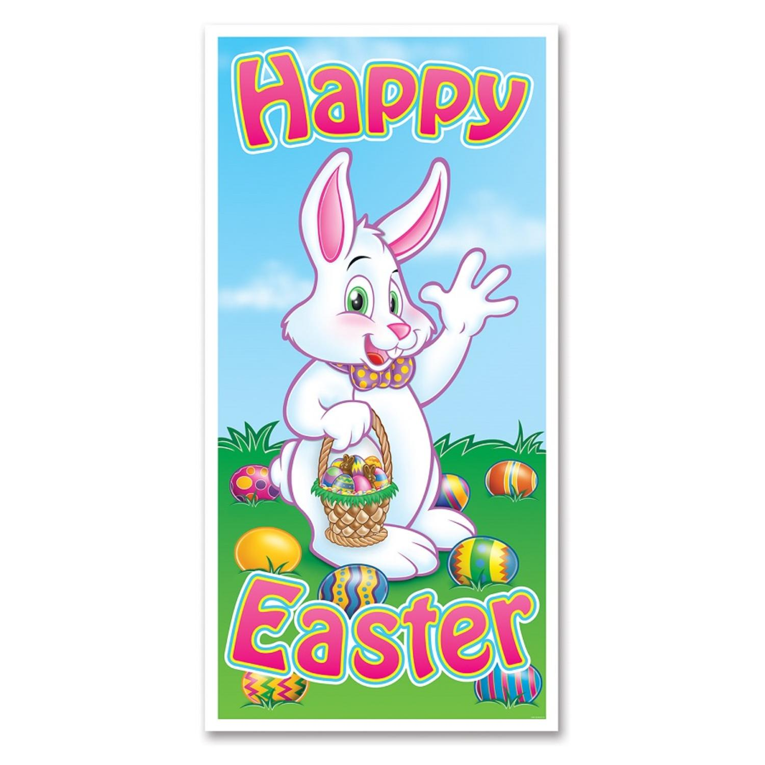 """Club Pack of 12 Easter Themed Multi-Colored """"Happy Easter"""" Door Cover Party Decorations 5'"""