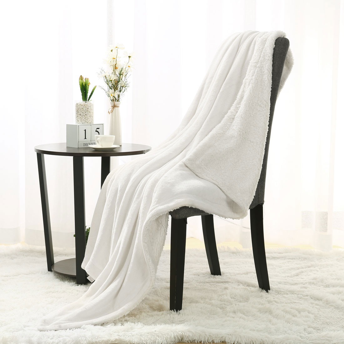 "Fleece Throw Blanket 50""x60"" Soft Plush Flannel Blanket, Navy Blue+White"