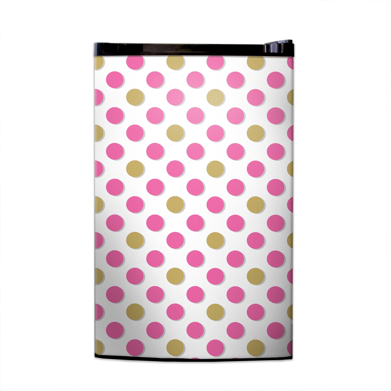 Metallic Gold & Pink Polka Dots Print Fridge Skin
