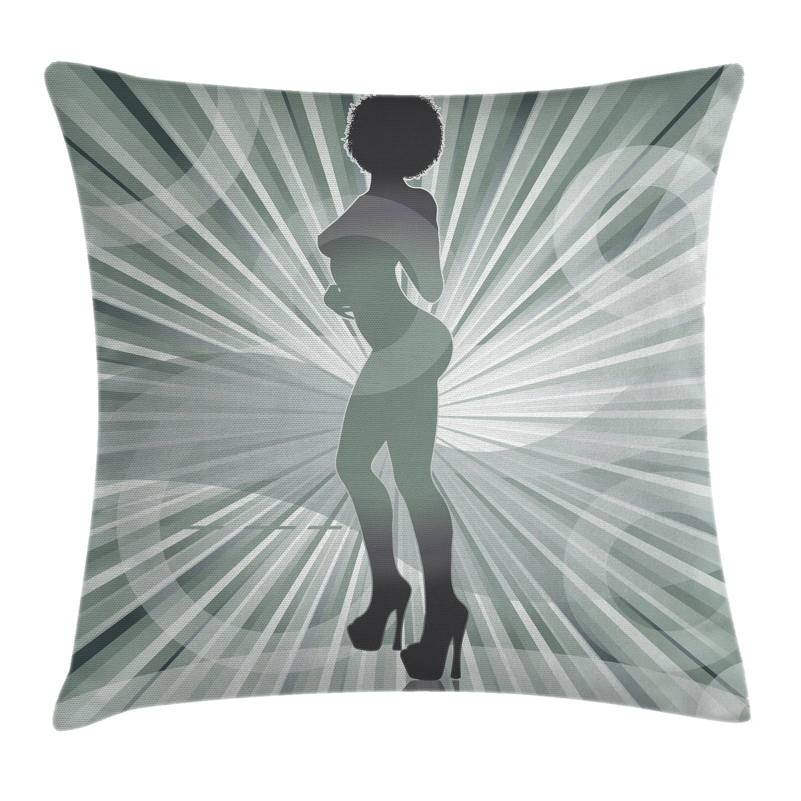 Apartment Decor Throw Pillow Cushion Cover, An Afro American Woman in High Heels Silhouette with Ray Background Pattern, Decorative Square Accent Pillow Case, 18 X 18 Inches, Black, by Ambesonne