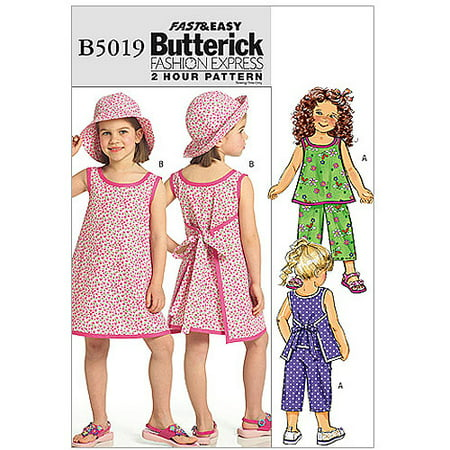 Girls Pinafore Pattern - Butterick Pattern Children's and Girls Top, Dress, Pants and Hat, CDD (2, 3, 4, 5)