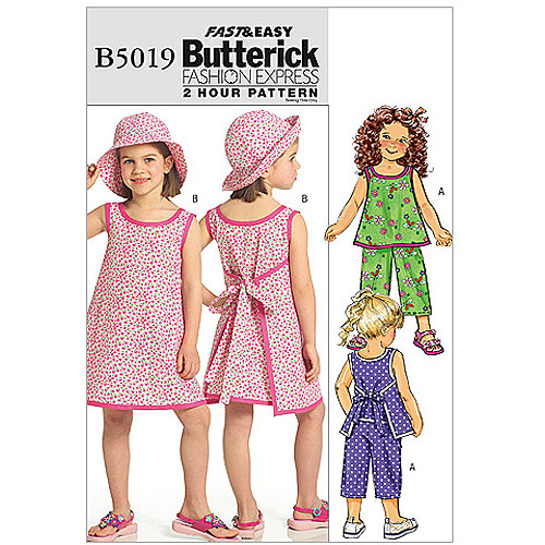 Butterick Pattern Children's and Girls Top, Dress, Pants and Hat, CDD (2, 3, 4, 5)