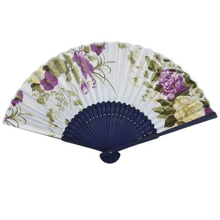 Unique Bargains Outdoor Floral Pattern Chinese Style Summer Hand Fan - image 4 de 4