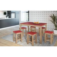 "7-Piece Stillwell 47.25""  Dining Set  in Red and Natural Wood"