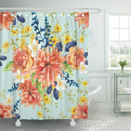 PKNMT Red Orange And Yellow Flowers With Blue Leaves Floral On The Light Green Waterproof Bathroom Shower Curtains Set 66x72 Inch