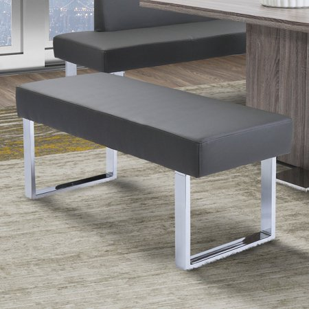 Incredible Armen Living Amanda Contemporary Dining Bench In Gray Faux Leather And Chrome Finish Uwap Interior Chair Design Uwaporg