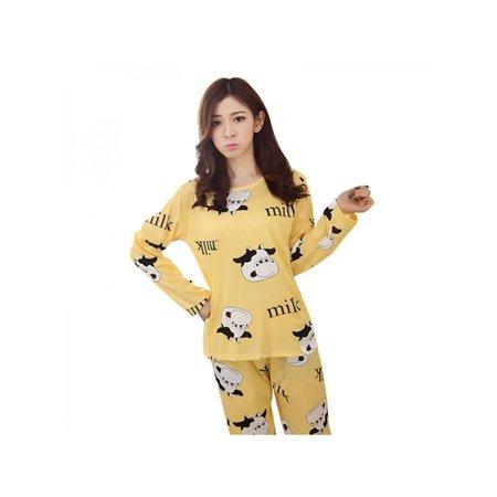 Wear Spring (MarinaVida Women's Cartoon Long Sleeve Pajama Set Sleepwear Leisurewear Homewear Spring Autumn)