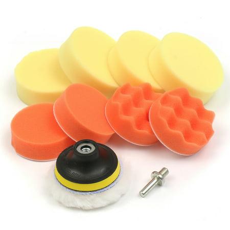 Foam Polishing Pad (10PCS 3'' Inch Car Auto Polishing Buffing Buffer Pads Foam Waxing Pad With Drill)