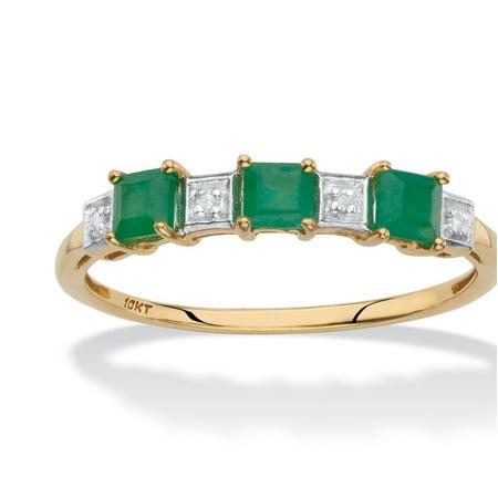 Genuine Green Emerald and Diamond Accent Princess-Cut Ring in Solid 10k Yellow Gold .66 - Genuine Emerald Cut Diamond