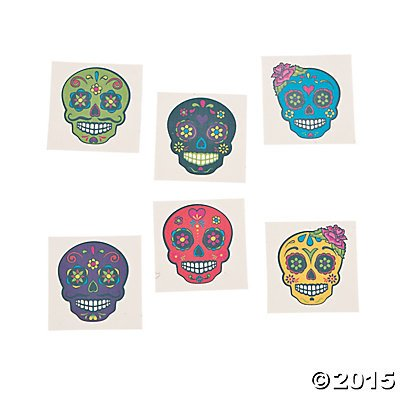 Day of the Dead Sugar Skull Tattoos, 72 Count - Day Of Dead Party Supplies