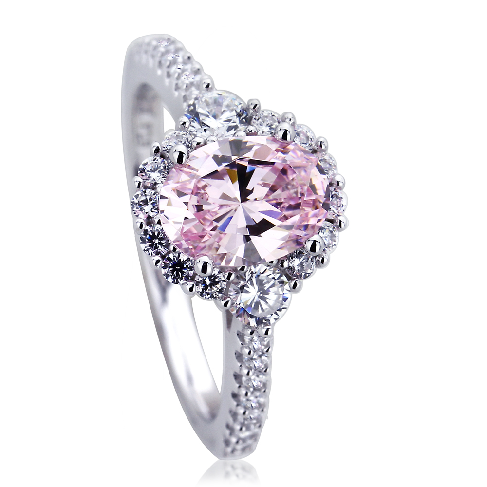 Sterling Silver Platinum Plated Engagement Ring Oval Pink Cubic Zirconia Halo Ring by