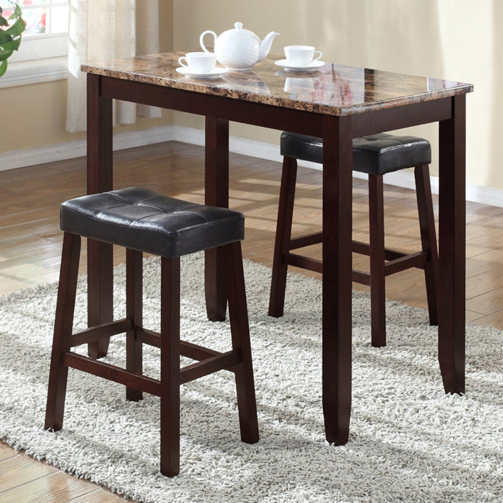 Roundhill Furniture 3-Piece Counter Height Glossy Print Marble Breakfast Table with Stools